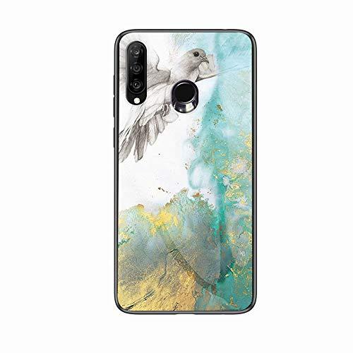 Miagon Glas Handyhülle für Huawei P Smart 2019,Marmor Serie 9H Panzerglas Rückseite mit Weicher Silikon Rahmen Kratzresistent Bumper Hülle für Huawei P Smart 2019,Taube