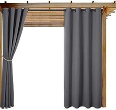 NICETOWN فناء الستائر الباب رمادي الحرارية معزول تعتيم في الهواء الطلق نافذة الستائر (رمادي ، 1 قطعة ، 130CM على نطاق واسع...