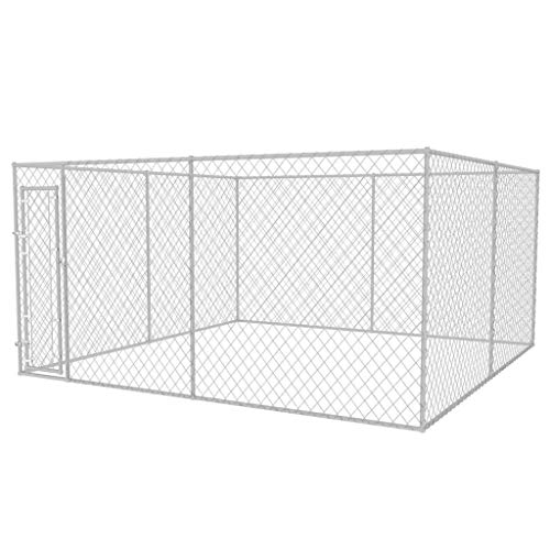 vidaXL Outdoor Hundezwinger Verzinkter Stahl 4x4x2m Hundehütte Hundekäfig
