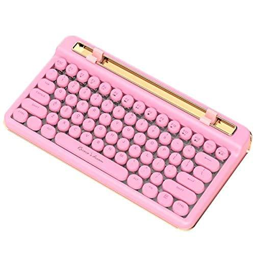 LGQ Teclado De Máquina De Escribir Retro USB con Cable E Inalámbrico Bluetooth Teclado Mecánico De Modo Dual Teclado Punk Redondo Retro Teclado Mecánico De Carga,Pink