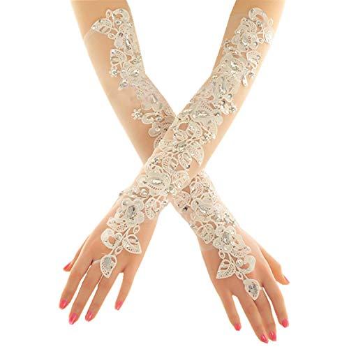 PANAX Damen extra lang Handschuhe aus elastisch Fine Netze Spitze Diamant, Perle Beige - Stulpen in Einheitsgröße für Frauen, Hochzeiten, Opern, Veranstaltungen, Fasching, Karneval, Tanzen, Halloween
