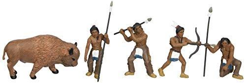 Woodland Scenics SP4444 1.5-Inch Scene Setters Figurine, Natives/Buffalo, 5/Pack