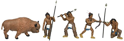 Woodland Scenics SP4444 1.5-Inch Scene Setters Figurine, Natives/Buffalo, 5/Pack