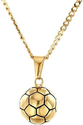 Yiffshunl Necklace Exquisite Stainless Steel Gold Plated Solid Soccer Model Pendant Necklace European and American Hip-Hop Man Woman Wild Jewelry Simple Creative Necklace Gift