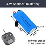 Novania 7.4V 3200mAh 8C Lithium Battery Compatible with WFLY ET07 X4 T7 T6II Remote Control Transmitter, RC Car Truck Airplane Helicopter Boat Hobby Remote & App Controlled Vehicle LiPo Batteries