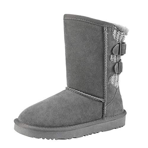 DREAM PAIRS Boys Girls Warm Faux Fur Lined Mid Calf Shearling Winter Snow Boots Sweaty-Buckle-K Grey Size 3 M US Little Kid