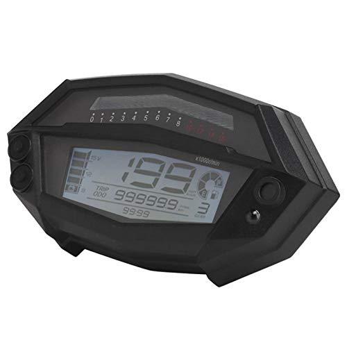 Bediffer Universeller Tachometer 12V LCD 7-Farben 1-5 Gang Motorradmesser Praktisches Multifunktionsinstrument für 1/2/4 Zylinder Motorrad