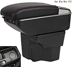 JEYODA For Kia Rio 3 Armrest Box Car Central Armrests Dual-Layered Storage Box Cup Holder with 7 USB Port