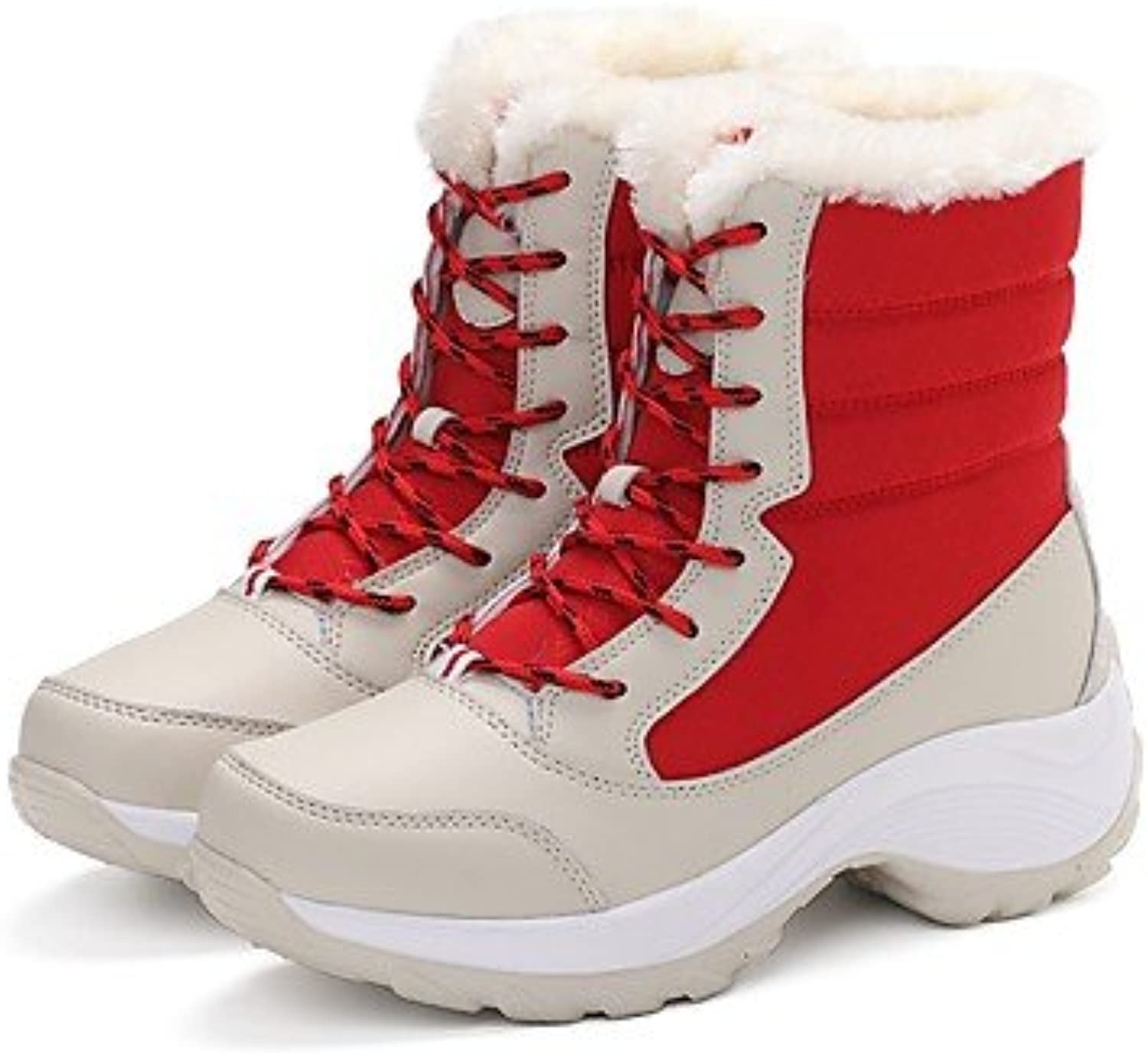Women shoes PU Winter Snow Flat Heel Round Toe Lace-up for Casual Red Beige Black
