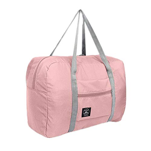 Cuasting Multifunction Large Capacity Casual Folding Waterproof Luggage Storage Bags Suitcase Travel Pouch Handbag Organizer Tote Bag Deep Pink