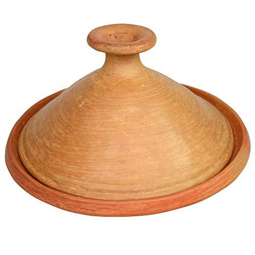Marokkanische Tajine, unglasiert, Ø 35 cm, zum Kochen für 4-5 Personen, Tontopf, Gartopf, Schmortopf, frei von Schadstoffe Handgefertigt in Marrakesch