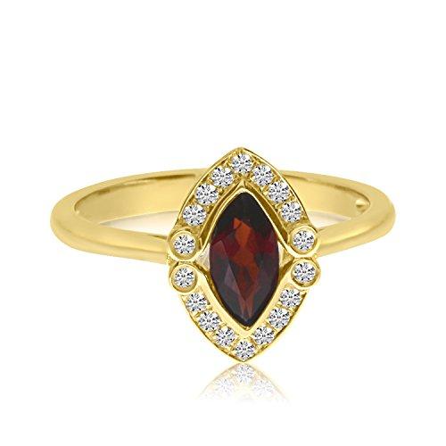 14K Amarillo Oro Marquis granate y anillo de diamante