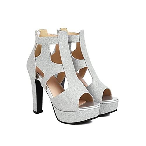 Sexy Ultra Hoge 12 cm Hakken Sandalen Vrouwen Platform Shiny Glitter Hollow Cut Zomer Laarzen Bling Goud Zilver Peep Toe schoenen
