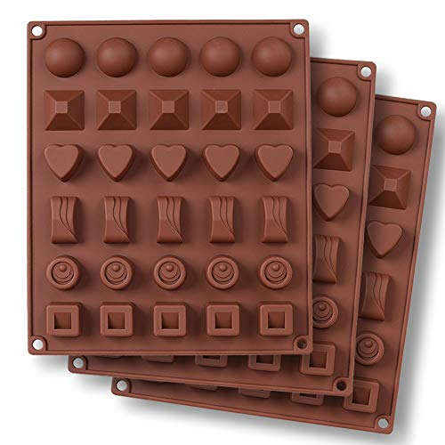 homEdge homEdge 30-Cavity Schokoladenform, 3 Packungen Antihaft-Silikon-Pralinen-Gelee-Form in Lebensmittelqualität - 6 Arten