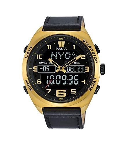 Pulsar x Herren Uhr analog-digital Quarzwerk mit Leder Armband PZ4042X1