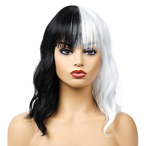 QXbecky Perruque européenne et américaine ultra-personnelle noire + blanche mi-longue longue perruque de fibre chimique de cheveux confortable et respirante
