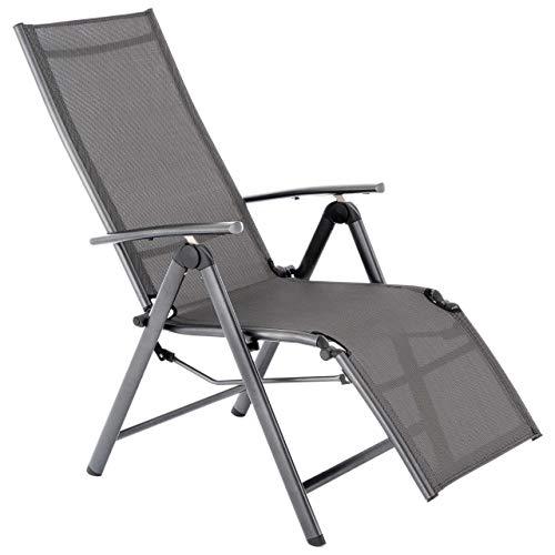 Nexos Alu Liegestuhl mit Fußstütze Klappstuhl Garten-Liege Relaxstuhl Veranda-Stuhl Balkon-Liege- Rahmen anthrazit Textilene schwarz- stabil