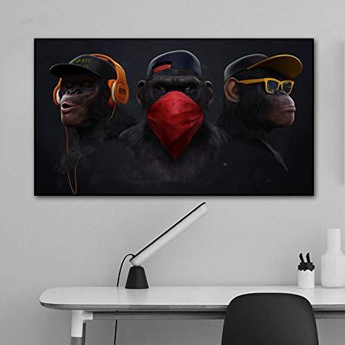 wZUN Arte della Parete Gorilla Scimmia Scimpanzé Cuffia Poster Immagine Animale Pittura su Tela Decorazione della Stanza Immagine per Famiglia 50x85 cm