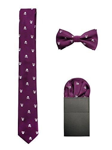 Hombre 6cm Corbata & Pajaritas & Pañuelo de Bolsillo 3 en 1 Set Moda Casual Cool - Calavera Patrón Morado