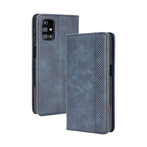 HAOTIAN Leder Hülle für Samsung Galaxy M31s Hülle, Premium PU/TPU Leder Folio Hülle Schutzhülle Handyhülle, Flip Hülle Klapphülle Lederhülle mit Standfunktion und Kartensteckplätzen, Blau