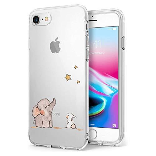 Oihxse Compatibile per [iPhone 7/8 Cover ] [iPhone SE 2020] Sottile e Leggera Silicone Trasparente Anti Scivolo Graffi Morbido TPU Design Creativo Cover iPhone 7 iPhone 8 iPhone SE-4.7-Rabbit