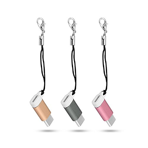 Youji® 3 Pack USB Type C 3.1 Adaptateur mâle à micro USB femelle Convertisseur connecteur avec porte-clés pour Samsung A3 / A5 / A7 (2017) 3 couleurs
