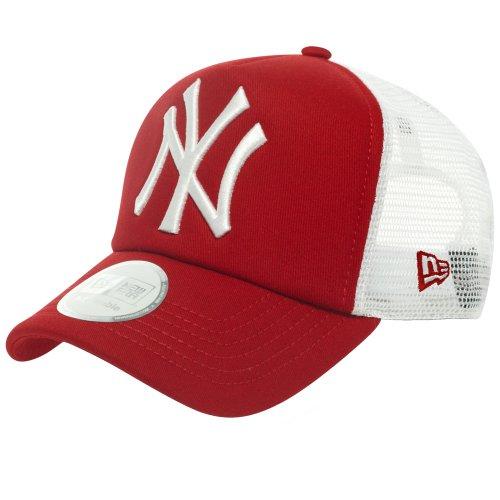 New Era Erwachsene Baseball Cap Mütze MLB Clean Trucker NY Yankees, Scarlet/White, One Size, 10531935