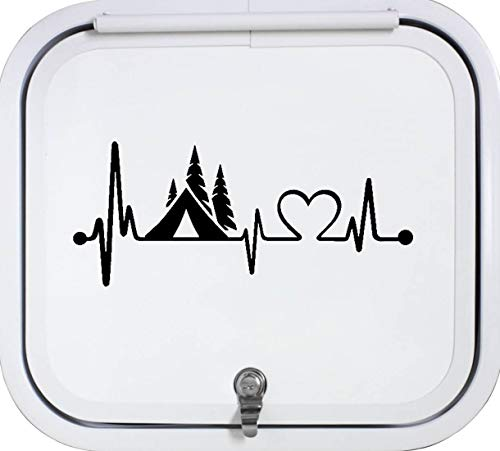Best Design Amazing Camper Tent Heartbeat Lifeline Monitor Camping Decal Sticker for Car Truck Laptop Trailer Boat and Stick Decals - Made in USA