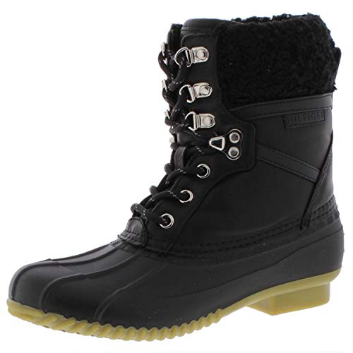 Tommy Hilfiger Womens Rian Faux Leather Ankle Rain Boots Black 5 Medium (B,M)