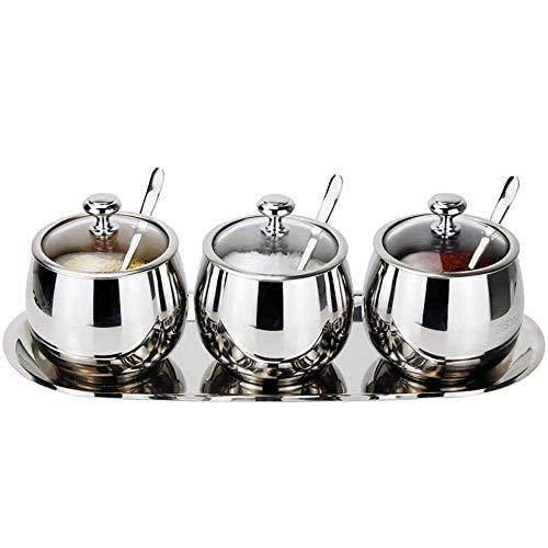 ZXvbyuff 304 Edelstahl Würzen Töpfe Set, Aufbewahrungsbehälter mit Salz Dosen, mit Deckel, mit Spice Rack, großen Kapazitäts-Silber-Ton