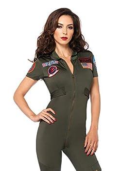 Leg Avenue Top Gun Flight Suit with Interchangeable Name Badges – Sexy Maverick Pilot Halloween Costume for Women Khaki Small