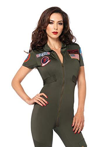 Leg Avenue Women's Official Top Gun Flight Suit Costume, S to XL