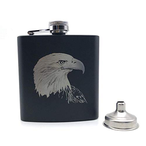 Piner American Style Eagle Black Heupfles 6 Oz Roestvrij staal Gepersonaliseerde Eagle Heupfles Alcohol Whiekey Vodka Wine Pot, American Eagle