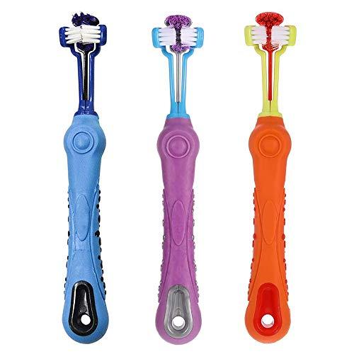 Gobesty - Cepillo de dientes para perros, 3 unidades, 3 colores, grande, para mascotas, cepillo de dientes con mango largo curvado para limpieza de dientes para perros pequeños, medianos y grandes