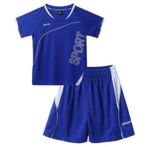 ranrann Jungen Sportanzug Kurz Sommer Zweiteiler Fitness Laufen Fußball Outfits T-Shirt Oberteil mit Shorts Sportshorts Kinder Trainingsanzug Blau 122-128/7-8 Jahre