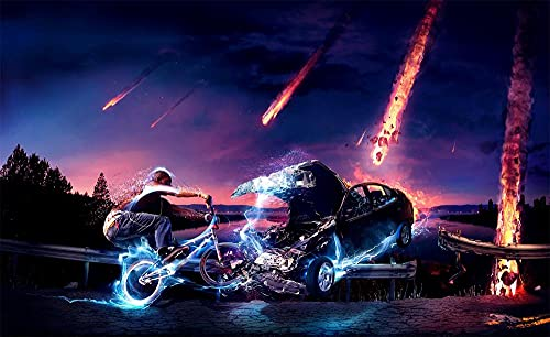 ZGNH Dipinto ad olio fai-da-te con kit di numeri, Senza Cornice Dipingere con i Numeri per Adulti e Bambini Vernice tela 16x20 inch - Cielo di auto meteora in bicicletta