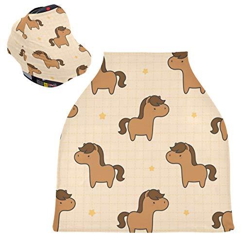 Sinestour Fundas de asiento de coche para bebé, diseño de caballo, funda para silla alta, toldo multiusos para bebés y madres lactantes