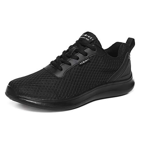 BaiMoJia Zapatillas Deportivas Hombre Zapatos Running Bambas Deporte Ligeras Verano Casual Todo Negro 42 EU