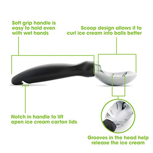 Spring Chef Ice Cream Scoop with Comfortable Handle, Black