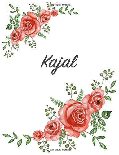 Kajal: Personalized Notebook with Flowers and First Name – Floral Cover (Red Rose Blooms). College...