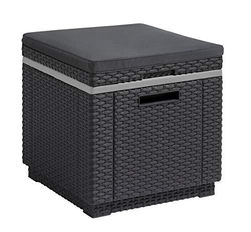 Koll Living Ice Cube Kühlbox Hocker inkl. Sitzkissen - Sitzhocker & Kühlbox in Einem - 24h kühle Getränke stets griffbereit