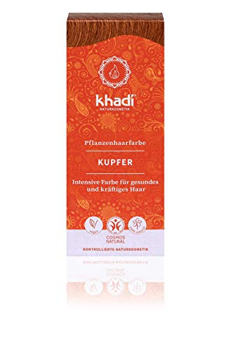 Khadi Plant Hair Dye 100 g I Hair Colour Copper Gold to Copper Red I Natural Hair Colour 100% Natural and Vegan Khadi Copper
