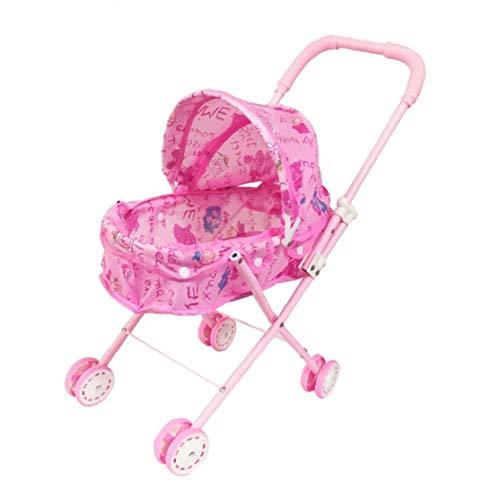 IUwnHceE Plegable Muñeca Cochecito con Capucha Adorable muñeca del Cochecito de niño de Peso Ligero de Rosa de bebé de Juguete Cochecito para el bebé, niños pequeños Juguete Lindo