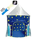 Kiddzery Rocket Ship Play Tent, With FREE BONUS Space Torch Projector - Children Playhouse Durable for Indoor/Outdoor Imaginative Spaceship Design, Great Gift Idea for Boys and Girls, Toddler and baby