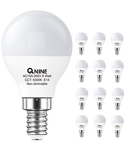QNINE E14 LED kaltweiß, 12 Stück, 6W(ersetzt 40-50W Tageslicht Glühbirne), 5000K, 540 lumen, Nicht dimmbar, LED Birne/Leuchtmittel, P45 in der Tropfenform, Abstrahlwinkel: 270°, 165-265V AC
