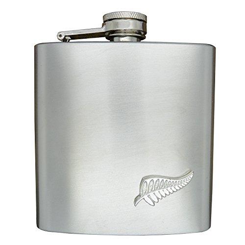 Luxus Edelstahl Flachmann 6 Unzen (180 ml), Mit Zinn Neuseeland Farn Abzeichen, Handgemacht von William Sturt