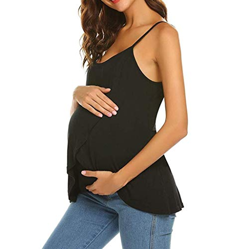 Dames mouwloos vest Nursing Top Maternity borst geven T-shirt Blouse Zwart Grijs Solid Color Comfortabel nachthemd nachtkleding for dagelijks gebruik (Color : Black, Size : L)