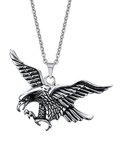 VNOX Edelstahl Weinlese Fliegen Adler Anhänger Halskette für Männer Punk kühlen Rock Stil,Silber,freier Kette