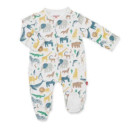 Magnetic Me Footie Pajamas 100% Organic Cotton Baby Sleepwear Quick Magnetic Fastener Sleeper Serengeti Safari Animal 0-3 Months