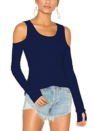 Bestisun Women's Long Sleeve Boat Neck Off Shoulder Tops Workout Yoga Clothes Flowy Athletic Exercise Shirts Navy Blue S